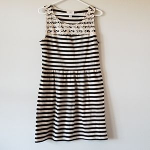 Loft Black & White Striped Dress Sz S
